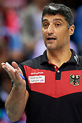 Poland, Krakow - 2017 September 03: Trainer coach Andrea Giani from Germany looks forward while final match between Germany and Russia  during Lotto Eurovolleyball Poland 2017 - European Championships in volleyball at Tauron Arena on September 03, 2017 in Krakow, Poland.<br /> <br /> Mandatory credit:<br /> Photo by &copy; Adam Nurkiewicz<br /> <br /> Adam Nurkiewicz declares that he has no rights to the image of people at the photographs of his authorship.<br /> <br /> Picture also available in RAW (NEF) or TIFF format on special request.<br /> <br /> Any editorial, commercial or promotional use requires written permission from the author of image.