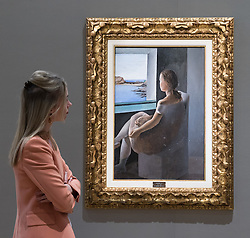 Bonhams, London, February 27th 2017. A member of Bonhams staff admires Salvador Dali's 'Figura de perfil', which is expected to fetch between £800,0000 and £1,200,000, at the Bonhams impressionist and modern art sale press preview at their Mayfair gallery in London.