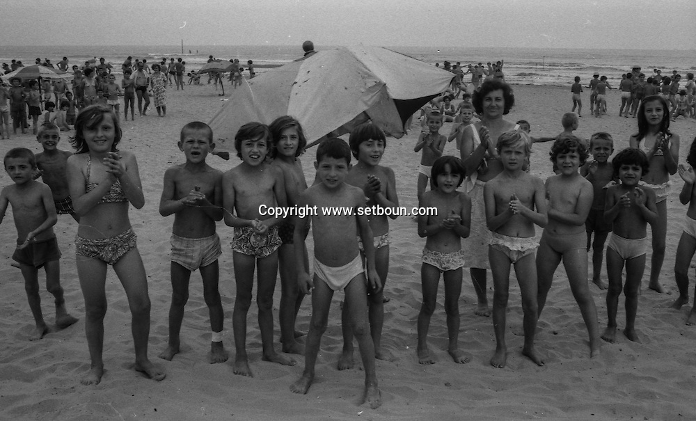 Abania in 1981 under the communist regime. pionniers camp on durres beach , for kids from 8 to 14 years old, the camp is surrounded by blockhaus . albania +