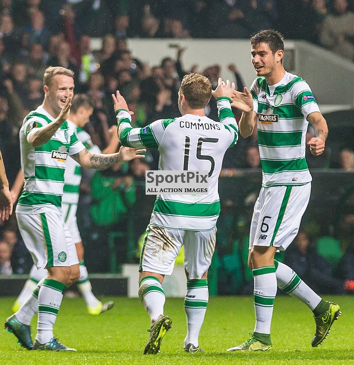 Leigh Griffiths, Kris Commons and Nir Bitton celebrate Nir Bitton's goal during the UEFA Europa League group stage match between Celtic and Molde FK (c) ROSS EAGLESHAM | Sportpix.co.uk