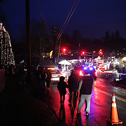 A Sunday night view of Sandy Hook after the mass shootings earlier in the week at Sandy Hook Elementary School, Newtown, Connecticut, USA. 16th December 2012. Photo Tim Clayton