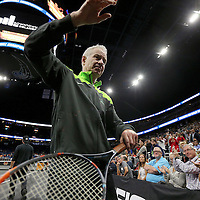 Tennis champion John McEnroe is seen as he leaves the court during the PowerShares Tennis Series event at the Amway Center on January 5, 2017 in Orlando, Florida. (Alex Menendez via AP)