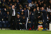 Burnley Manager Sean Dyche and Preston Manager Simon Grayson during the Sky Bet Championship match between Preston North End and Burnley at Deepdale, Preston, England on 22 April 2016. Photo by Simon Brady.