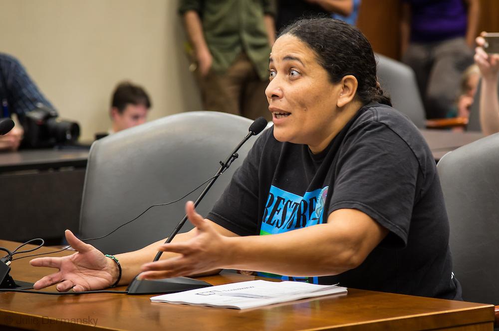 Cherri Foytlin speaking at the Bayou Bridge pipeline hearing in Baton Rouge, LA