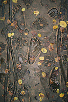 Soldiers' boots and barefeet designed into the walkways at the My Lai Massacre Museum in Quang Ngai, Vietnam.