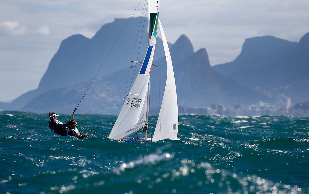 Camille Lecointre and Helene Defrance from France sail during a 470 Womens class race in the Rio 2016 Olympic Games Sailing events in Rio de Janeiro, Brazil, 11 August 2016.