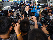 26 OCTOBER 2016 - MAE SOT, TAK, THAILAND: Charoenrit Sa-nguansat, the Governor of Tak province, talks to Thai reporters during an impromptu press conference at the Mae Sot border post when Thailand repatriated about 65 Burmese refugees back to Myanmar from a refugee camp in Tak.       PHOTO BY JACK KURTZ