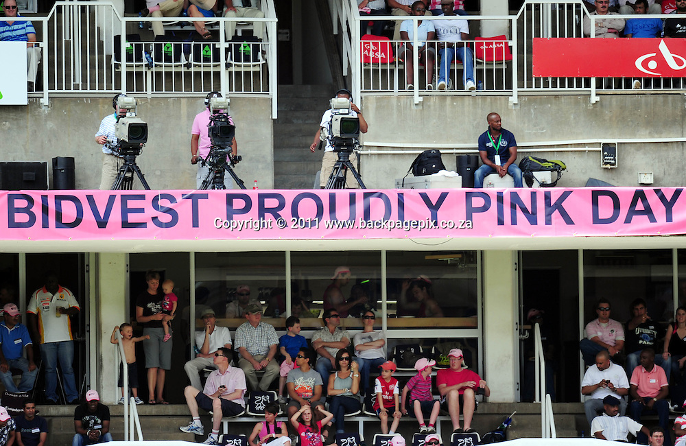 Thousands of fans turned out on Day 3 of the 2nd test dressed in Pink, in support of Breast Cancer awareness<br /> &copy; Barry Aldworth/Backpagepix