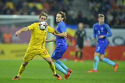 November 14, 2017 - Bucharest, Romania - Eric Bicfalvi (Rom) vies Daley Blind (Ned) during International Friendly match between Romania and Netherlands at National Arena Stadium in Bucharest, Romania, on 14 november 2017. (Credit Image: © Alex Nicodim/NurPhoto via ZUMA Press)