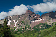 View of Maroon Bells, Maroon Bells Snowmass Wilderness, White River National Forest, near Aspen, Colorado, USA; August 2010