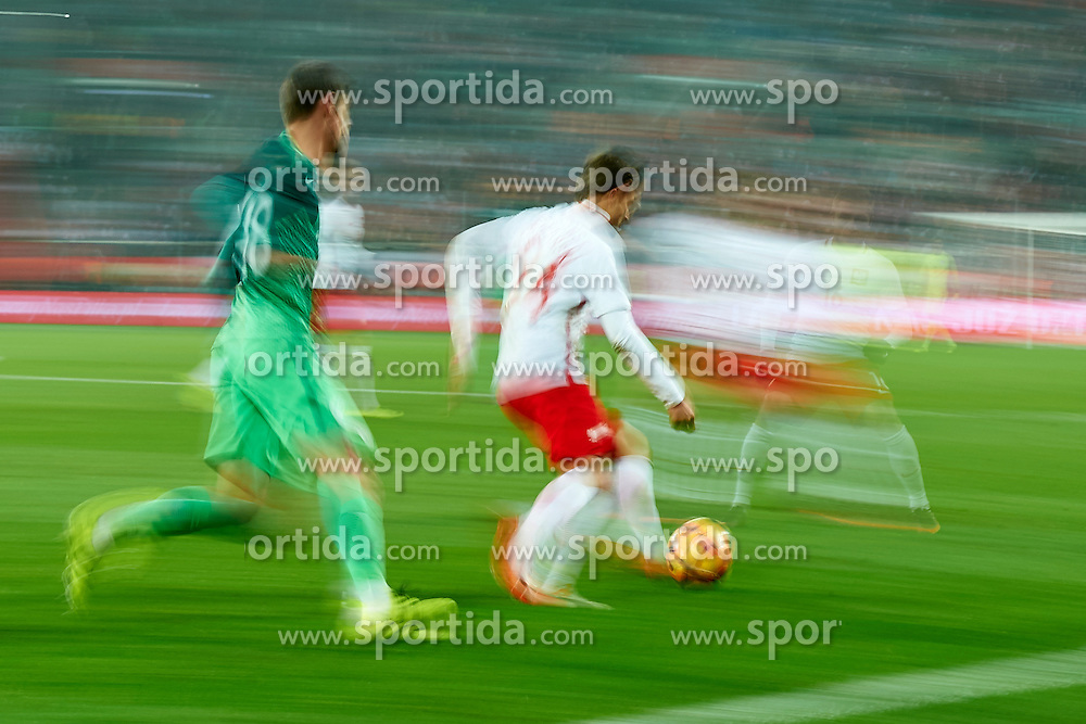 Wroclaw, Poland - 2016 November 14: Bartosz Bereszynski of Poland controls the ball during Poland v Slovenia - International Friendly Soccer Match at Municipal Stadium on November 14, 2016 in Wroclaw, Poland.<br /> <br /> Adam Nurkiewicz declares that he has no rights to the image of people at the photographs of his authorship.<br /> <br /> Picture also available in RAW (NEF) or TIFF format on special request.<br /> <br /> Any editorial, commercial or promotional use requires written permission from the author of image.<br /> <br /> Mandatory credit:<br /> Photo by © Adam Nurkiewicz / Mediasport