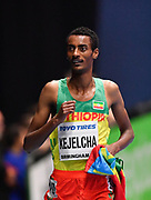 Yomif Kejelcha (ETH) celebrates after winning the Men's 3000m Final in a time of 14.41 during the final session of the IAAF World Indoor Championships at Arena Birmingham in Birmingham, United Kingdom on Saturday, Mar 2, 2018. (Steve Flynn/Image of Sport)