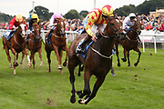 FRANCIS XAVIER (6) ridden by Clifford Lee and trained by Kevin Frost winning The Hanson Springs Stakes over 1m 2f (£19,000) during the Newby and the Press Family Raceday at York Racecourse, York, United Kingdom on 9 September 2018. Picture by Mick Atkins.
