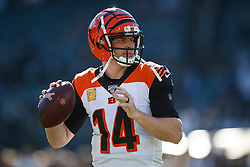 OAKLAND, CA - NOVEMBER 17: Quarterback Andy Dalton #14 of the Cincinnati Bengals warms up before the game against the Oakland Raiders at RingCentral Coliseum on November 17, 2019 in Oakland, California. The Oakland Raiders defeated the Cincinnati Bengals 17-10. (Photo by Jason O. Watson/Getty Images) *** Local Caption *** Andy Dalton