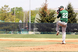 11 May 2013:  Matt Hart starts as pitcher for Illinois Wesleyan during an NCAA division 3 College Conference of Illinois and Wisconsin (CCIW) Pay in Baseball game during the Conference Championship series between the North Park Vikings and the Illinois Wesleyan Titans at Jack Horenberger Stadium, Bloomington IL