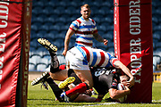 Bradford Bulls replacement Edward Chapelhow (39)  scores a try for the Bradford Bulls during the Kingstone Press Championship match between Rochdale Hornets and Bradford Bulls at Spotland, Rochdale, England on 18 June 2017. Photo by Simon Davies.