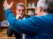 "08 APRIL 2019 - DES MOINES, IOWA: Rep. TIM RYAN listens to teachers in the library at Callanan Middle School. Ryan, a candidate for the Democratic ticket of the US presidency, visited Callanan Middle School in Des Moines to discuss education issues. Ryan declared his candidacy on the US television show ""The View"" on April 4. Ryan, 45 years old, represents Ohio's 13th District, which includes Lordstown, where a large General Motors plant recently closed. He is the latest Democrat to announce his candidacy to be the Democratic nominee in the 2020 election. Iowa holds its presidential caucuses on Feb. 3, 2020.       PHOTO BY JACK KURTZ"