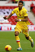 MK Dons defender Jordan Spence on the ball during the Sky Bet Championship match between Nottingham Forest and Milton Keynes Dons at the City Ground, Nottingham, England on 19 December 2015. Photo by Aaron Lupton.