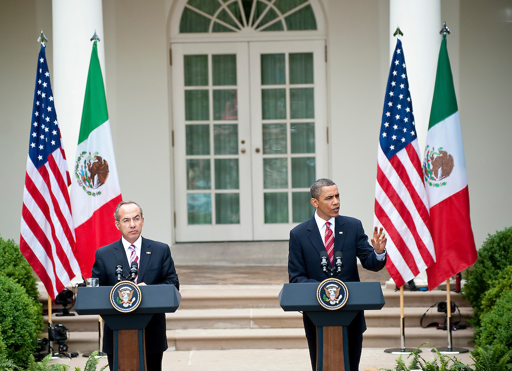 May 19, 2010 - Washington, District of Columbia, U.S., - President Obama and President Calderón hold a join press conference in the Rose Garden on Tuesday. (Credit Image: © Pete Marovich/ZUMA Press)