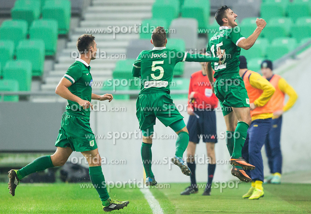 Marko Vukcevic #15 of Olimpija celebrates after scored 2nd goal for Olimpija during football match between NK Olimpija Ljubljana and NK Domzale in 18th Round of Prva liga Telekom Slovenije 2014/15, on November 22, 2014 in SRC Stozice, Ljubljana, Slovenia. Photo by Vid Ponikvar / Sportida