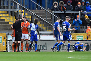 Ben Heneghan (6) of Blackpool is shown a red card, sent off for a bad challenge on Jonson Clarke-Harris (9) of Bristol Rovers during the EFL Sky Bet League 1 match between Bristol Rovers and Blackpool at the Memorial Stadium, Bristol, England on 15 February 2020.