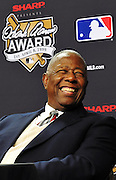 11/01/2009 - Citizen Bank Park,Philadelphia, PA - Hank Aaron at the 2009 MLB's Hank Aaron Award Press Conference given out at the 2009 World Series.  Derek Jeter of the New York Yankees and Albert Pujols of the St Louis Cardinals were named winners of MLB's Hank Aaron Award as most outstanding offensive performers in the American and National League