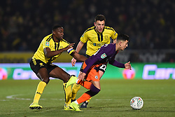 January 23, 2019 - Burton-Upon-Trent, Staffordshire, United Kingdom - Manchester City forward Ian Carlo Poveda (83) holds off Burton Albion forward Lucas Akins  (10) during the Carabao Cup match between Burton Albion and Manchester City at the Pirelli Stadium, Burton upon Trent on Wednesday 23rd January 2019. (Credit: MI News & Sport) (Credit Image: © Mark Fletcher/NurPhoto via ZUMA Press)