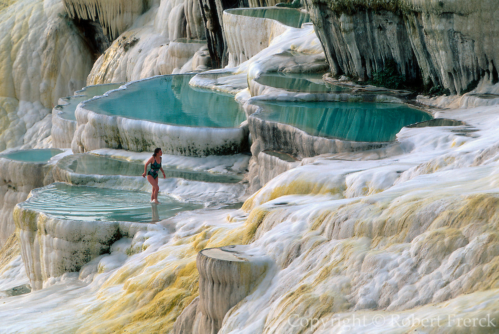 TURKEY, PAMUKKALE famous travertine pools and hot springs