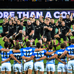 The All Blacks perform the haka during The Rugby Championship match between the NZ All Blacks and Argentina Pumas at FMG Stadium in Hamilton, New Zealand on Saturday, 10 September 2016. Photo: Dave Lintott / lintottphoto.co.nz