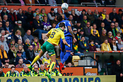 Cardiff City midfielder Nathaniel Mendez-Laing (19) heads the ball during the EFL Sky Bet Championship match between Norwich City and Cardiff City at Carrow Road, Norwich, England on 14 April 2018. Picture by Phil Chaplin.