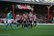 Jonathan Douglas goal celebration during the Sky Bet Championship match between Brentford and Blackburn Rovers at Griffin Park, London, England on 13 December 2014.