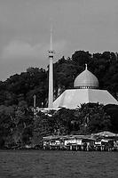 mosque and stilt houses in sandakan, borneo