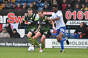 Doncaster Rovers Midfielder, James Coppinger (26) , Doncaster Rovers Midfielder, Tommy Rowe (10) and Bury Midfielder, Rohan Ince (30)  during the EFL Sky Bet League 1 match between Bury and Doncaster Rovers at the JD Stadium, Bury, England on 28 October 2017. Photo by Mark Pollitt.