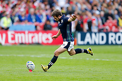 Scotland Scrum-Half Greig Laidlaw kicks a conversion - Mandatory byline: Rogan Thomson/JMP - 07966 386802 - 23/09/2015 - RUGBY UNION - Kingsholm Stadium - Gloucester, England - Scotland v Japan - Rugby World Cup 2015 Pool B.