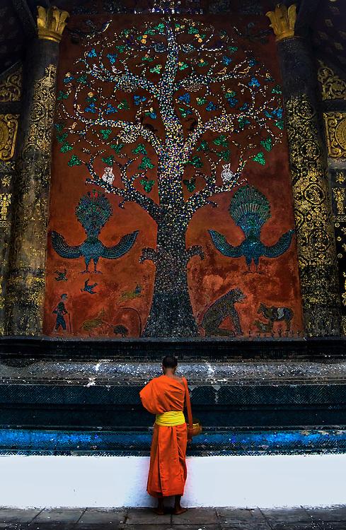 The tree of life mural at Wat Xieng Thong, Luang Prabang, Laos.