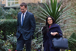 Downing Street, London, February 2nd 2016. Health Secretary Jeremy Hunt and Employment Minister Priti Patel attending the weekly Cabinet meeting. ///FOR LICENCING CONTACT: paul@pauldaveycreative.co.uk TEL:+44 (0) 7966 016 296 or +44 (0) 20 8969 6875. ©2015 Paul R Davey. All rights reserved.