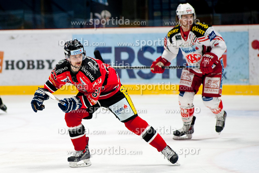15.03.2015, Ice Rink, Znojmo, CZE, EBEL, HC Orli Znojmo vs EC KAC, 59. Runde, 5. Viertelfinale, im Bild v.l. Ondrej Sedivy (HC Orli Znojmo), Jason Desantis (EC KAC) // during the Erste Bank Icehockey League 59th round match, 5th quarterfinal between HC Orli Znojmo and EC KAC at the Ice Rink in Znojmo, Czech Republic on 2015/03/15. EXPA Pictures © 2015, PhotoCredit: EXPA/ Rostislav Pfeffer