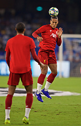 NAPLES, ITALY - Tuesday, September 17, 2019: Liverpool's Virgil van Dijk during the pre-match warm-up before the UEFA Champions League Group E match between SSC Napoli and Liverpool FC at the Studio San Paolo. (Pic by David Rawcliffe/Propaganda)