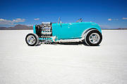 Best-cars-people-atmosphere-photos of 2009 Bonneville Speed Week- An antique roadster is parked in the fan area of the Bonneville Speedway in Utah, August 9, 2009.  Photo by Colin E. Braley