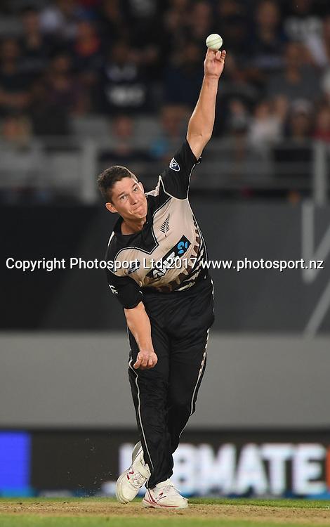 Ben Wheeler bowling. International Twenty20 Cricket. New Zealand Black Caps v South Africa, Eden Park, Auckland, New Zealand. Friday 17 February 2017 © Copyright photo: Andrew Cornaga / www.photosport.nz