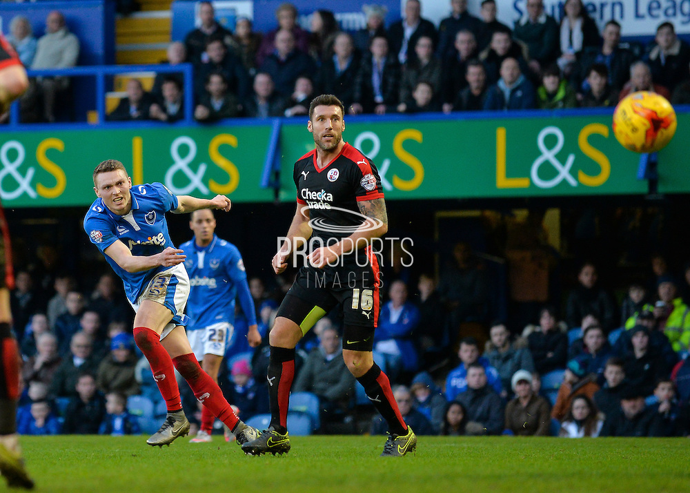 Portsmouth striker Caolan Lavery with a shot at goal during the Sky Bet League 2 match between Portsmouth and Crawley Town at Fratton Park, Portsmouth, England on 2 January 2016. Photo by Adam Rivers.