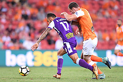 January 18, 2018 - Brisbane, QUEENSLAND, AUSTRALIA - Diego Castro of the Glory (#17, left) dribbles the ball under pressure from Luke DeVere of the Roar (#3) during the round seventeen Hyundai A-League match between the Brisbane Roar and the Perth Glory at Suncorp Stadium on January 18, 2018 in Brisbane, Australia. (Credit Image: © Albert Perez via ZUMA Wire)