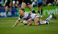 Jacob Miller of Wakefield Trinity dives over to score during the Betfred Super League match at Belle Vue, Wakefield<br /> Picture by Richard Land/Focus Images Ltd +44 7713 507003<br /> 09/02/2018