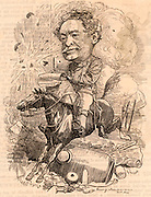 William Howard Russell (1821-1907) Irish journalist who joined the staff of 'The Times' of London in 1843.  Famous for his role as a war correspondent  beginning with the Crimean War (1853-1856).  Cartoon by Edward Linley Sambourne in the Punch's Fancy Portraits series from 'Punch' (London, 8 October 1881).