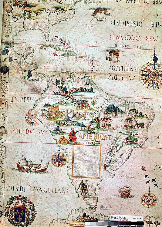 French map of Central and South America, showing Florida, Gulf of Mexico, Caribbean Islands and Antilles, River Plate, Conquistadors in Peru, Cannibals, Gold Mines, Parrots, etc. 1550. British Museum