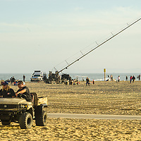 Kohl's commercial being filmed at Santa Monica Beach on Friday, March 7, 2014.