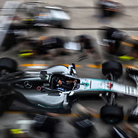 Mercedes AMG Petronas Formula One Team technicians practice a pit stop ahead of the 2016 Formula One Grand Prix of Malaysia in Sepang, Malaysia, 29 September 2016. The 2016 Formula One Grand Prix of Malaysia will take place 30 September till 02 October 2016.
