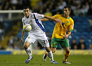 Leeds - Monday October 19th, 2009: Robert Snodgrass (L) of Leeds United and Adam Drury of Norwich City during the Coca Cola League One match at Elland Road, Leeds. (Pic by Paul Thomas/Focus Images)..