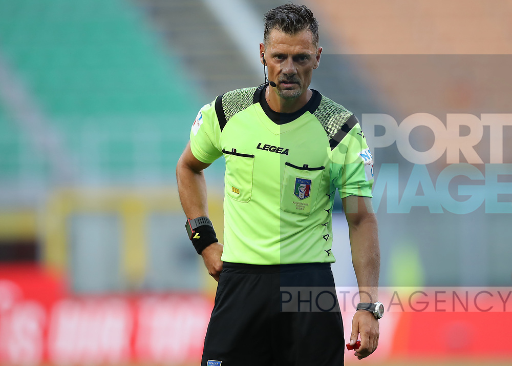 The referee Piero Giacomelli during the Serie A match at Giuseppe Meazza, Milan. Picture date: 28th June 2020. Picture credit should read: Jonathan Moscrop/Sportimage