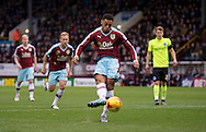 Andre Gray of Burnley (2nd right) scores a penalty to make it 1-1 during the Sky Bet Championship match at Turf Moor, Burnley<br /> Picture by Russell Hart/Focus Images Ltd 07791 688 420<br /> 22/11/2015